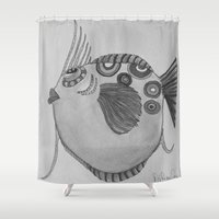 larry Shower Curtains featuring LARRY B/W by Caribbean Critters Co.