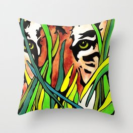 Tiger Eyes Looking Through Tall Grass By annmariescreations Throw Pillow