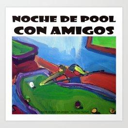 Noche de pool por Diego Manuel Art Print