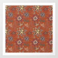 Snowflake Folk Pattern Art Print