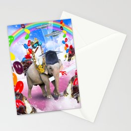Cat Riding Elephant With Sundae And Jelly Beans Stationery Cards