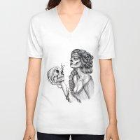 sugar skull V-neck T-shirts featuring Sugar Skull by April Alayne