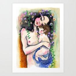 Klimt: Mother and Child 1 Art Print