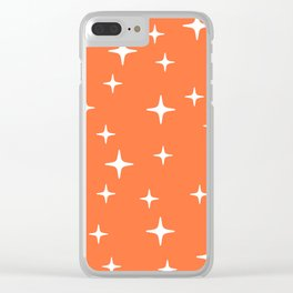 Mid Century Modern Star Pattern 443 Orange Clear iPhone Case