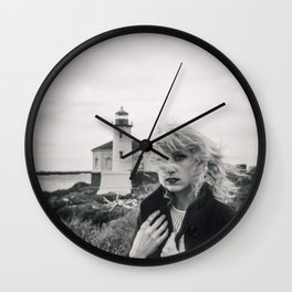 Girl in the Wind at Coquille River Lighthouse - Bandon, Oregon Black and White Photograph Wall Clock