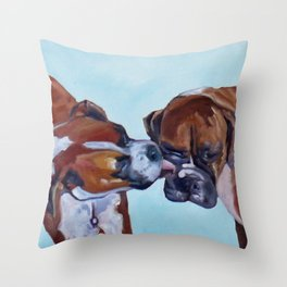 Kissing Boxers Dogs Portrait Throw Pillow