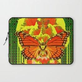 ABSTRACT ART DECO MONARCH BUTTERFLIES YELLOW-GREEN Laptop Sleeve