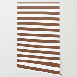 Milk chocolate - solid color - white stripes pattern Wallpaper