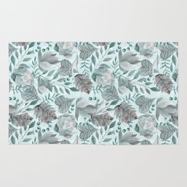 Watercolor Leaf And Succulent Pattern Rug
