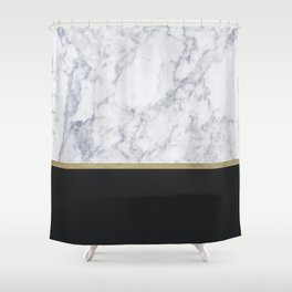 MARBLE GOLD BLACK Shower Curtain
