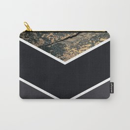 Scandinavian Gold Concrete Black Gray Geometric Pattern Carry-All Pouch