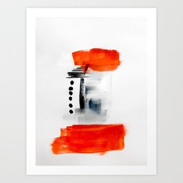 Minimalist Red Black Abstract Art Print