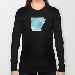 Watercolor State Map - Arkansas AR blue greens Long Sleeve T-shirt