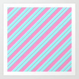 Blue and Pink Peppermint Art Print