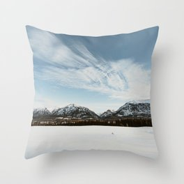 Snowy landscape mountains and blue skies - winter landscape Canada Throw Pillow