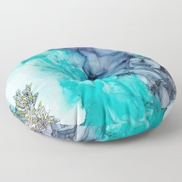 Remembering_ abstract painting , alcohol ink painting Floor Pillow