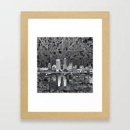 indianapolis city skyline black and white Framed Art Print