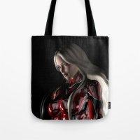 sci fi Tote Bags featuring Sci-Fi Suit Portrait by Brian Raggatt