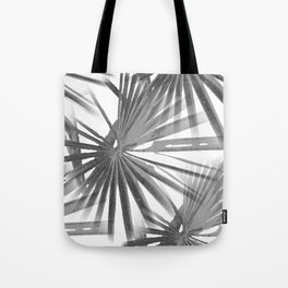 Grey on White Tropical Vibes  Beach Palmtree Vector Tote Bag