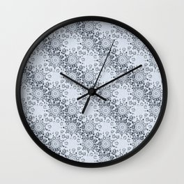 Lace Inspired Elegant Pattern - Navy Blue Wall Clock