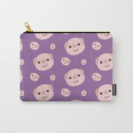 Cute Piggy heads with purple background Pattern Carry-All Pouch