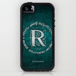 Joshua 24:15 - (Silver on Cyan) Monogram R iPhone Case