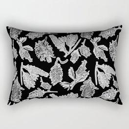 Black and White Australian Native Flowers Rectangular Pillow
