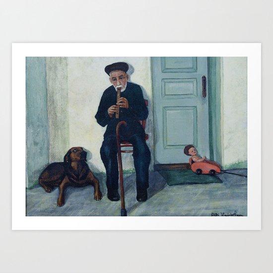 Grandpa, a recorder and Foreo Art Print