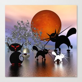 mooncats and the aliens Canvas Print