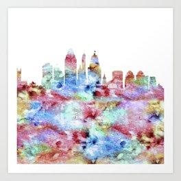 Cincinnati City Skyline Ohio Art Print