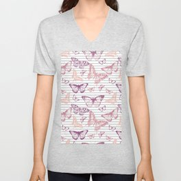 Minimal Black and White Stripes and Rose Gold Butterflies Unisex V-Neck
