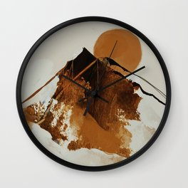 abstract mountains, rustic orange sunrise Wall Clock