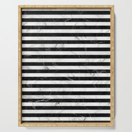 Marble Stripes Pattern - Black and White Serving Tray