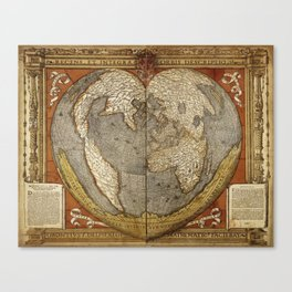 Heart-shaped projection map Canvas Print