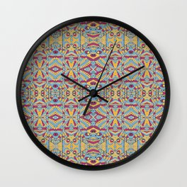 Multicolored Tribal Pattern Wall Clock