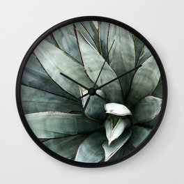 Botanical Succulents // Dusty Blue Green Desert Cactus High Quality Photograph Wall Clock