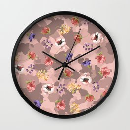 Rose Gold Pink Camouflage Floral Flower Camo Wall Clock