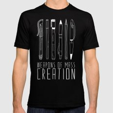 Weapons Of Mass Creation (on grey) MEDIUM Black Mens Fitted Tee