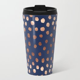 Rose Gold navy polka dot painted metallic pattern basic minimal pattern print Travel Mug