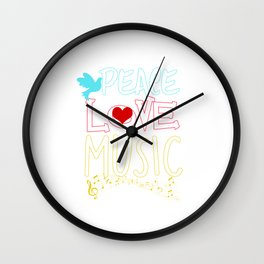 Peace Love Music Hippie Hipster Festival Wall Clock