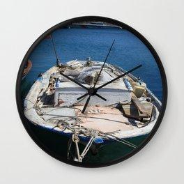 Moored Fishing Boat Wall Clock