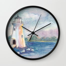 lighthouse on the seashore by watercolor Wall Clock