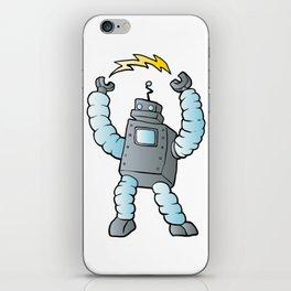 cartoon blue eletric robot iPhone Skin