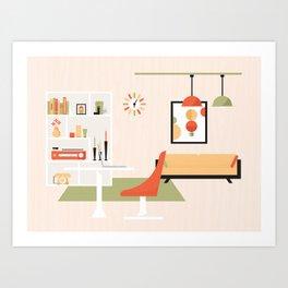 Mid-Century Modern Living - Living Room Art Print