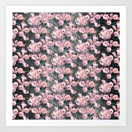 Night Rose Garden Pattern Art Print