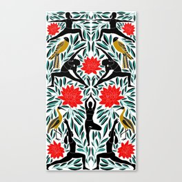 Yoga Girls Illustration with Lotus Flowers and Leaves // Vibrant Folk Art Colors Canvas Print