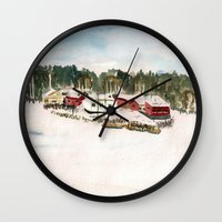 finland Wall Clocks featuring Finland village by Nadezhda Shoshina