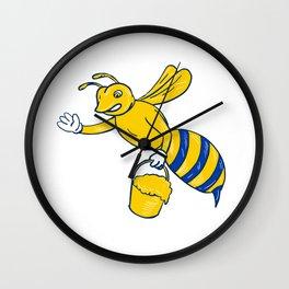 Bumblebee Waving With Honey Drawing Wall Clock