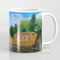 cabin pressure Mugs featuring Old cabin by maggs326