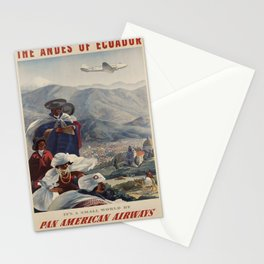 retro poster The Andes of Ecuador voyage poster Stationery Cards